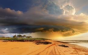 красиво, пляж, природа, циклон, Австралия, шторм