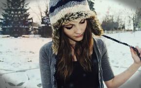 girl, brunette, winter