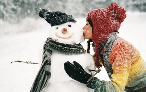 snow, kissing, snowman, winter