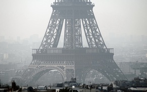 Eiffel Tower, mist, France, Paris, architecture