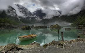 горы, Норвегия, озеро, красивые, облака, лодка