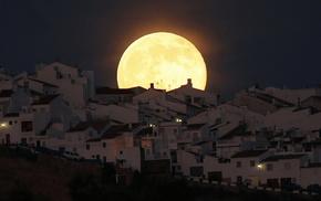 здания, Кадис, ночь, луна, красивые, полнолуние