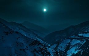 mountain, landscape, moon