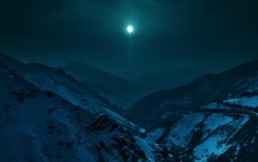 mountain, landscape, moon