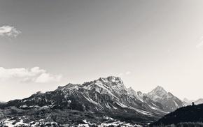 пейзаж, небо, горы, природа, монохром