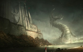 dragon, castle, fantasy art