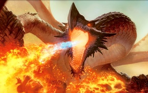 dragon, Magic The Gathering, fantasy art, fire