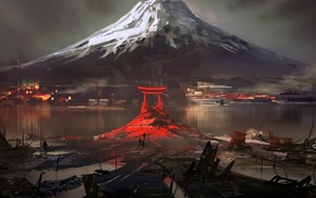 digital art, Japan, Mount Fuji