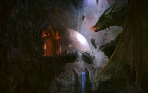 wizard, waterfall, dragon, The Lord of the Rings, bridge