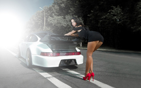 sexy, road, legs, posing, supercar
