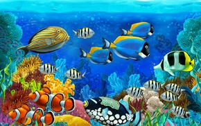 painting, stunner, ocean, underwater, art