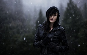 black hair, nature, forest, depth of field, winter, face