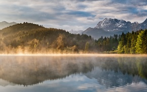 mist, mountain, landscape, nature, reflection, lake
