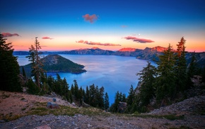 trees, nature, mountain, landscape, lake