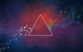 colorful, Pink Floyd, Dark Side Of The Moon, triangle, abstract, minimalism