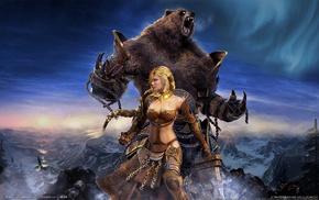 girl, fantasy, bear