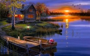 boat, landscape, lodge, autumn, sunset