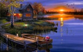 лодка, пейзаж, Darrell bush, домик, осень, утки