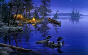 лес, ночь, lake, красивые, звёзды, painting