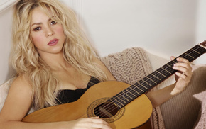 music, long hair, blonde, guitar, Shakira