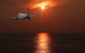 Sun, sky, aircraft, sunset, airplane