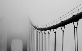 мост, туман