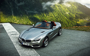 silver, roadster, mountain, Bmw, автомобили, fog