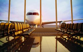 window, airplane, sky, aircraft, evening
