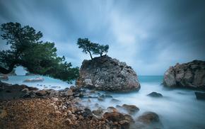 деревья, скалы, камни, пляж, природа, море