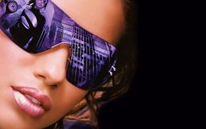 фон, девушки, взгляд, очки, девушка