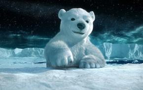 полюс, мишка, 3d, снег, белый
