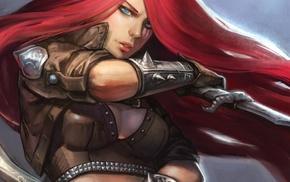 fantasy art, League of Legends, knife, redhead, Katarina