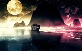 shipwreck, moon