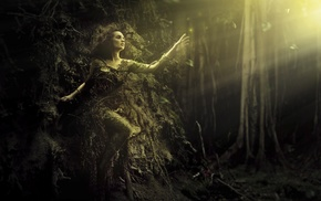 artwork, sun rays, trees, digital art, fantasy art, girl