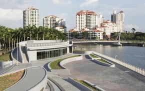 небо, река, спортивный комплекс, красота, здания, деревья