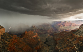lightning, sky, canyon, USA, rain