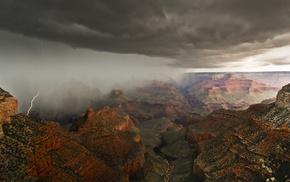 красота, молния, небо, Гранд-Каньон, Аризона, каньон