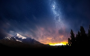 звезды, природа, горы, закат