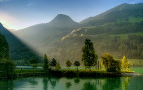 холмы, деревья, зелень, Горы, природа, река