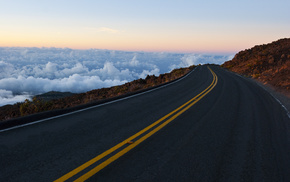 clouds, stunner, rocks, road, sky