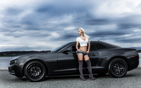 girl, cars, camaro, cloudy, black