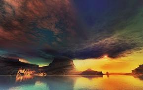 вода, природа, закат