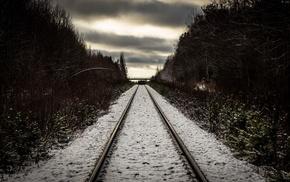 snow, nature, railway