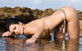 water, stones, girls, Denise Milani