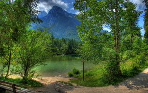nature, mountain, landscape, HDR, trees