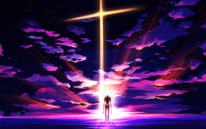 Neon Genesis Evangelion, clouds, sunset, art, anime