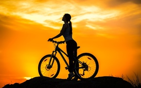 sunset, girl, sports, silhouette, bicycle
