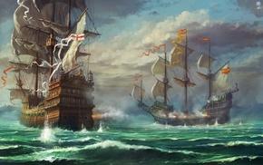 облака, парусник, арт, небо, красивые, корабли