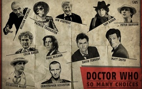 Christopher Eccleston, Matt Smith, Doctor Who, artwork, Tom Baker, The Doctor