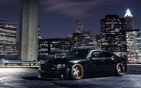 black, wheels, city, skyscrapers, tuning